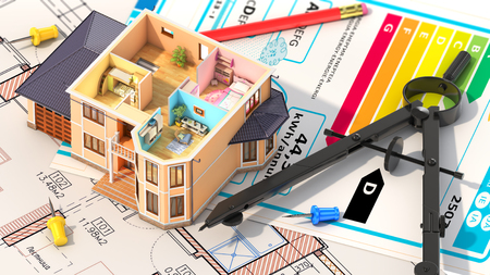 housing project: Concept of design. Residential house have view where can see furnished rooms with tools on architect blueprints. Housing project. 3d illustration