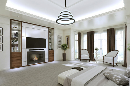 upmarket: Modern bedroom interior with large Windows from floor to ceiling. 3d illustration