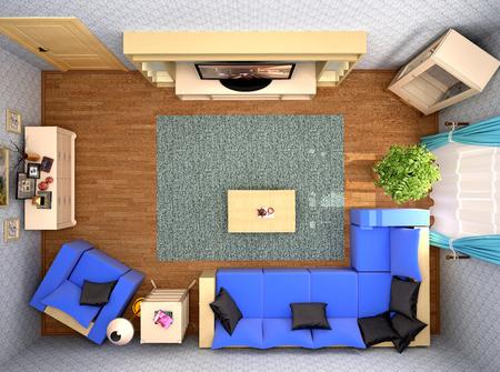 modern living room: Top view of modern living room interior. 3d illustration