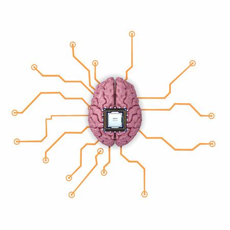 impulse: Human brain with computer processor. Concept 3d render, illustration