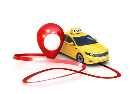 concept of GPS Navigator and car. A yellow taxi with a pointer to the traffic sign location. 3d illustration