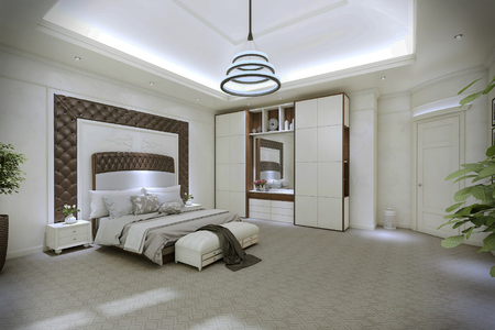 lighting fixtures: Modern bedroom interior. 3d illustration Stock Photo