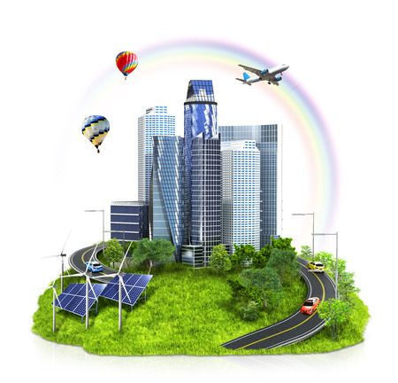 City on an island floating in the clouds. Ecology. 3d illustration