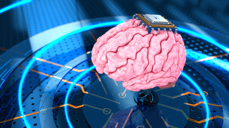 impulse: Human brain with computer processor on the metall perforated. Concept 3d render, illustration