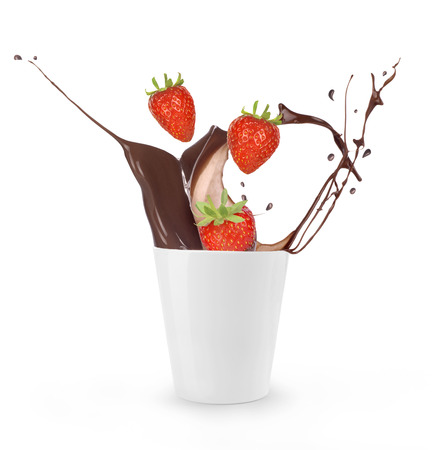 Strawberrys Splashing in Chocolate Stock Photo