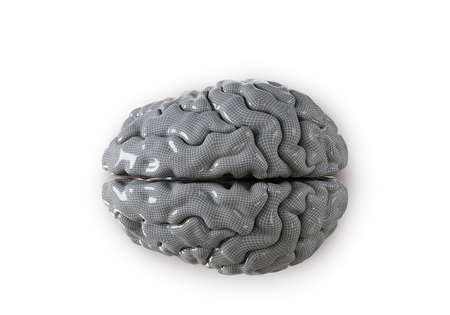 impulse: Human brain with geometry cell on the white  background. Concept 3d render, illustration