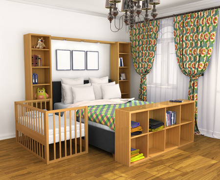breastfeeding: Bedroom for the parents and the child. Lullaby baby bed located near the parents  bed. 3D illustration