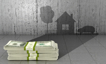 desired: The concept of purchase. Packs of dollars that cast a shadow desired purchase. 3D illustration Stock Photo