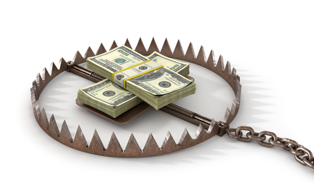 catastrophe: Finance risk concept. Money on bear trap. 3d illustration Stock Photo