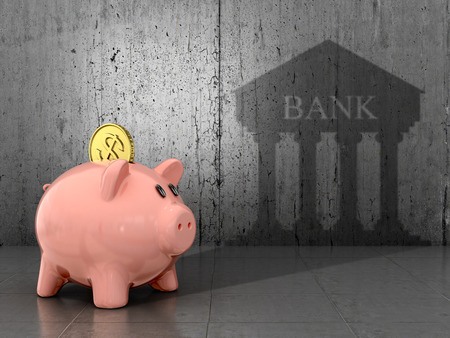 bank branch: The concept of saving and the accumulation of money. The banking concept. 3D illustration. Stock Photo