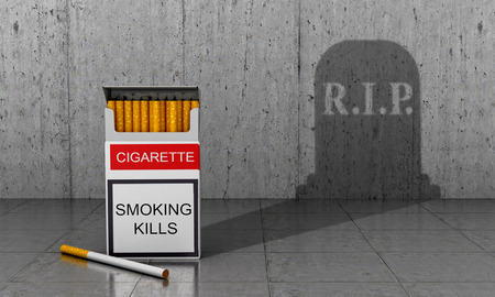 poronienie: Papierosy śmierć. Pojęcie wpływu palenia na organizm człowieka. Ilustracja 3D Zdjęcie Seryjne