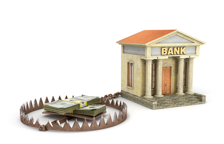 bear trap: Finance risk concept. Money on bear trap. 3d illustration Stock Photo