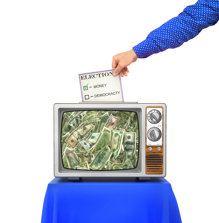 designate: Elections concept. TV as an urn for the election ballots. The choice between money and democracy. Hand throws ballot to the urn. 3d illustration Stock Photo