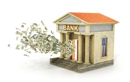 money flying: Concepto de las finanzas. Dinero volando de la puerta en el edificio del banco. Depósito y por ciento. Ilustración 3D.