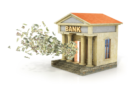 dinero volando: Finance concept. Money flying from door in the bank building. Deposit and percent. 3d illustration.