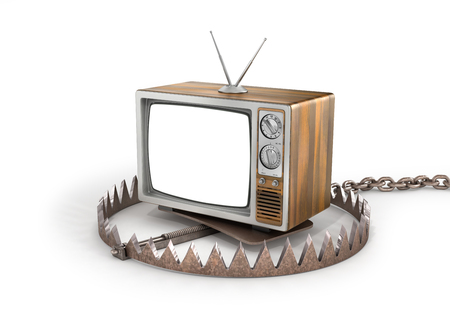 dependence: Concept of TV dependence. TV in the trap. TV as trap for crowd. 3d illustration Stock Photo