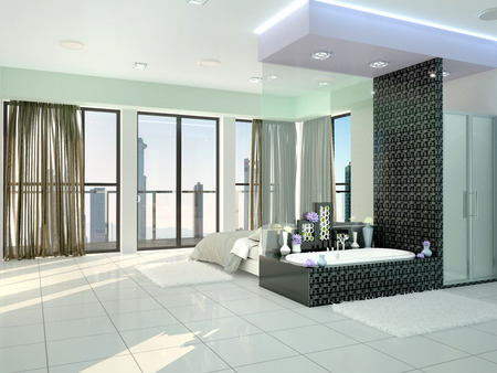 en suite: bedroom with en-suite in a modern style. 3d illustration Stock Photo