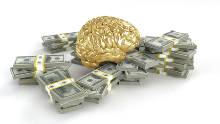 cerebra: Human gold brain whith big stacks of dollars isolated on white. Concept 3d render, illustration