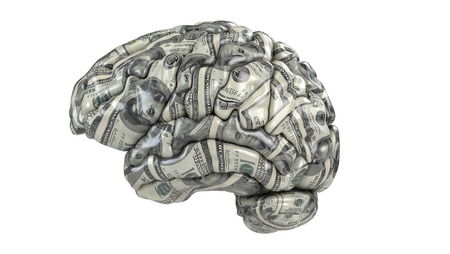 Human brain whith dollars texture isolated on white. Concept 3d render, illustration