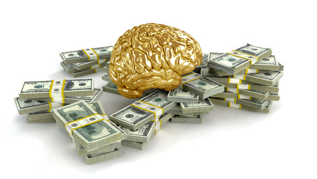 Human gold brain whith big stacks of dollars isolated on white. Concept 3d render, illustration