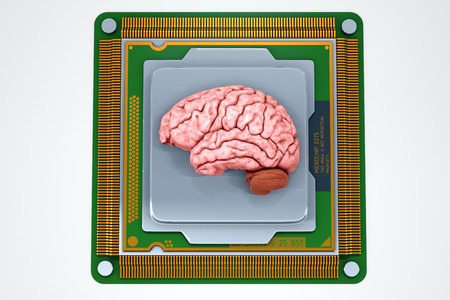 processor: Human brain with computer processor isolated on white. Concept 3d render, illustration Stock Photo