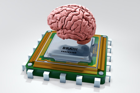 impulse: Human brain with computer processor isolated on white. Concept 3d render, illustration Stock Photo
