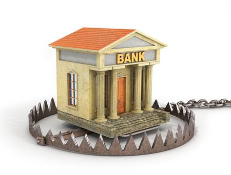 Finance risk concept. Bank building on bear trap. Bankrupt. 3d illustration