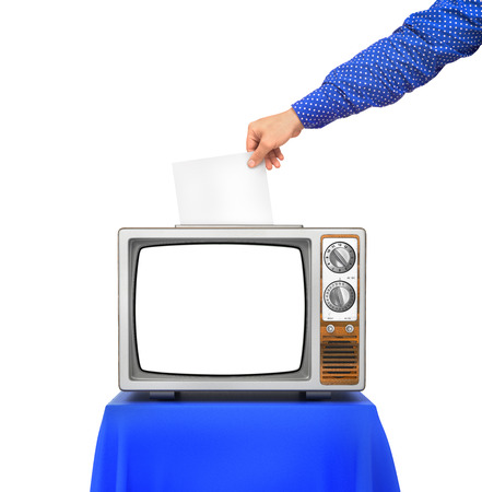 urn: Elections concept. TV as an urn for the election ballots. Hand hold blank paper above election urn. 3d illustration
