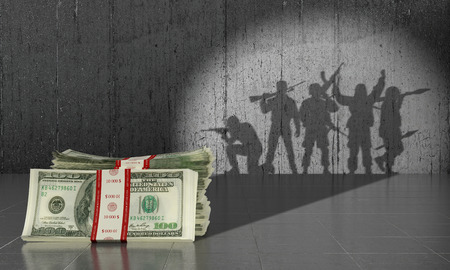 Concept payed military conflict. Military concept.3D illustration Banque d'images
