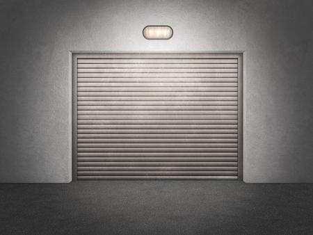 abandoned warehouse: garage facade; 3d illustration Stock Photo
