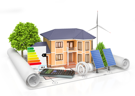 wind power: Energy efficient construction. House with calculator, solar panel, wind power plant and economical lamp on a blueprint. 3d illustration Stock Photo