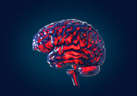Human brain with futuristic hud interface background. Concept 3d render, illustration