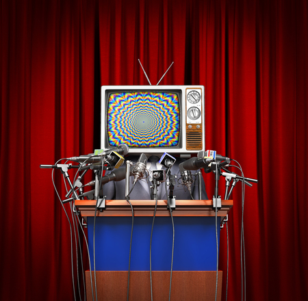 Mass media concept. Man in a suit and TV instead of head behind a tribune with microphones for conference on a red curtain background. Concept of propaganda. 3d illustration Stock Photo