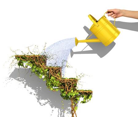 Bedrijfsconcept. Hand drenken van de gele gieter om de carrièreladder in de vorm van groene plant van klimop. Groei concept. 3D illustratie