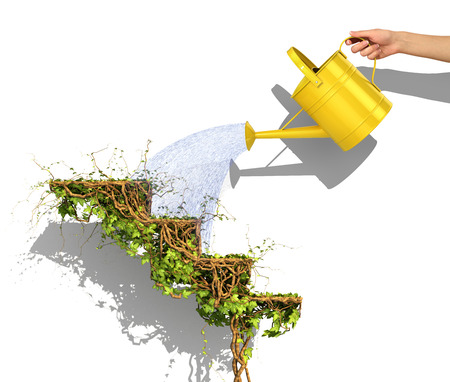 Business concept. Hand watering from the yellow watering can to the career ladder in form of green plant of ivy. Growth concept. 3d illustration