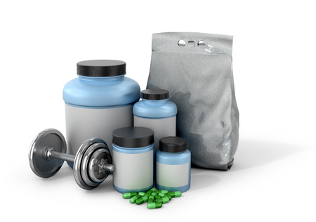 supplementation: Sports nutrition and supplements with dumbbells on a white background. 3D illustration Stock Photo