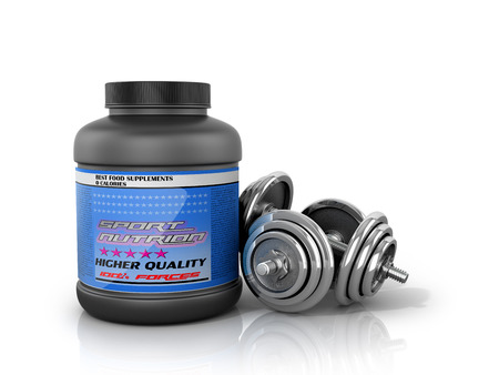 supplementation: Sports nutrition with dumbbells on a white background. 3D illustration