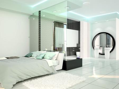現代のハイテク スタイルでバスルームとベッドルーム。3 d イラストレーション