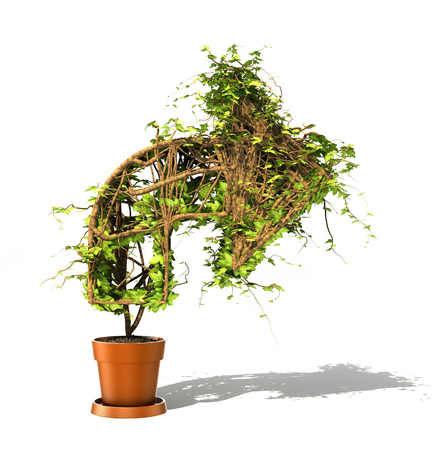 tilted: Growth concept. The green plant in form of the tilted arrow on a white background. 3d illustration