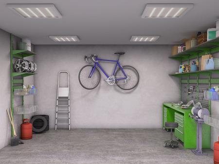 garage interior; 3d illustration