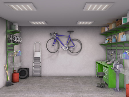 garage on house: garage interior; 3d illustration