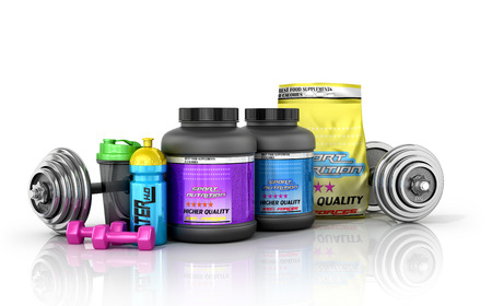 supplementation: Sports nutrition with sports equipment on a white background. 3D illustration Stock Photo