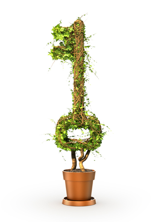 The green plant in form of key. 3d illustration Stok Fotoğraf