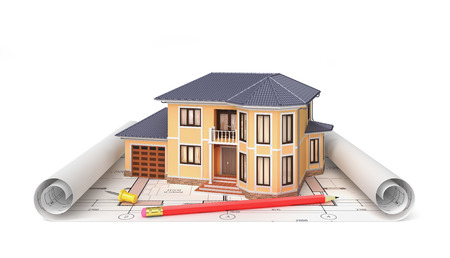 housing project: Residential house with tools on architect blueprints. Housing project. 3d illustration