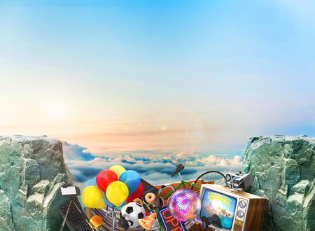 distract: Concept of Goal. Leisure and things that distract us from the goal in the gap between the rocks on a sky background. Things for leisure. 3d illustration Stock Photo