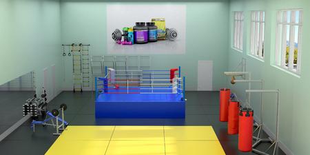 권투 반지와 홀의 내부입니다. 3D 일러스트 레이션