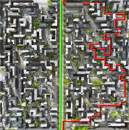 cut through the maze: Concept of right way. Clear vision leadership solutions and success concept. Two ways through city in form of labyrinth. A maze of houses. 3d illustration