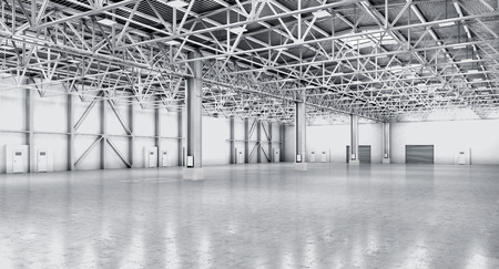 empty warehouse: Empty warehouse in white color. 3d illustration Stock Photo