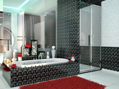 romance: Luxurious bathroom in black and white colors. 3d illustration Stock Photo