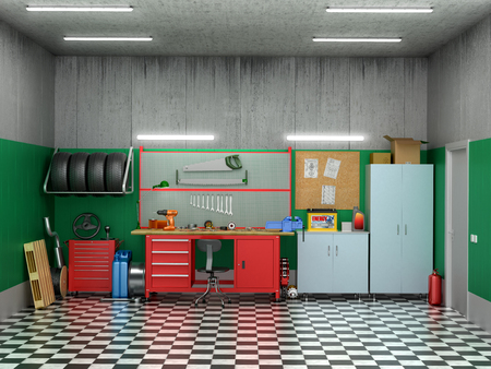 clean home: Interior garage with car parts and tools. 3D illustration